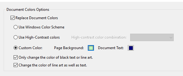 Document Colors Options in Adobe Acrobat Reader
